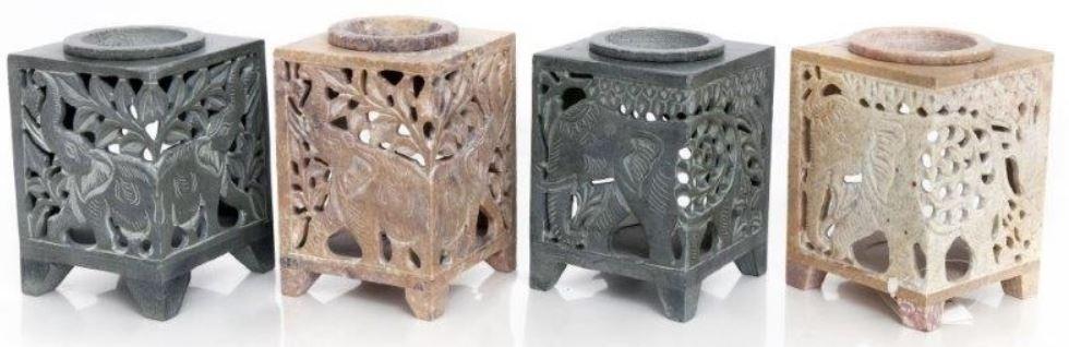 Elephant soap stone tealight wax warmer burner