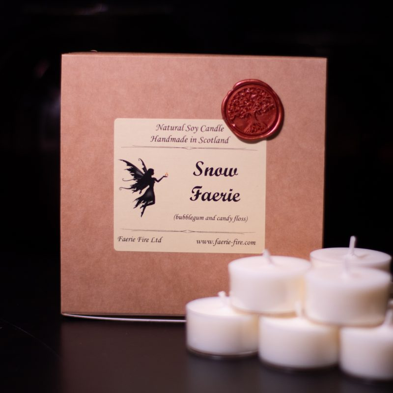 An image of our snow faerie tealights | handmade candles Scotland
