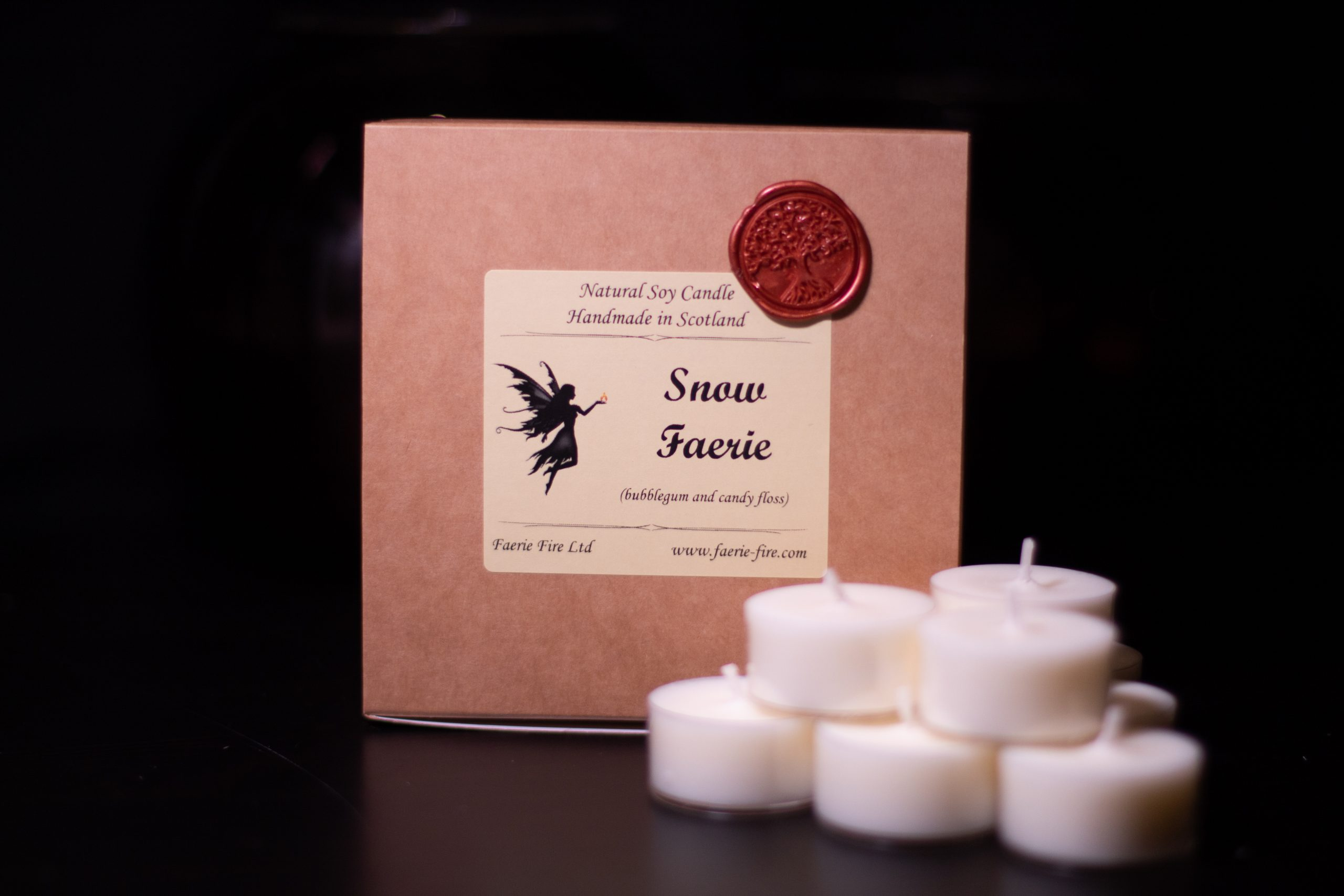 An image of our snow faerie tealights   handmade candles Scotland