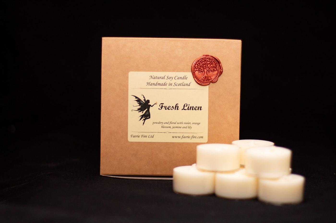 Fresh Linen Natural Soy Vegan Tealights