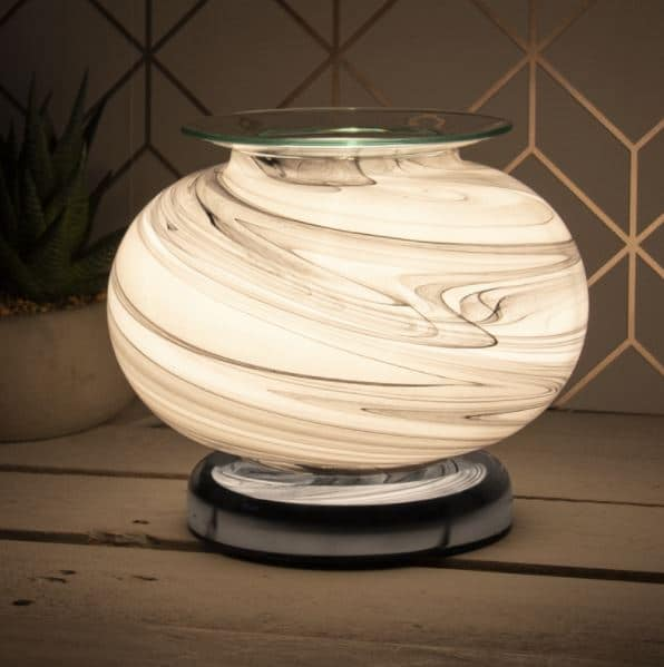 Low Round Grey Marble Wax Warmer aroma Lamp